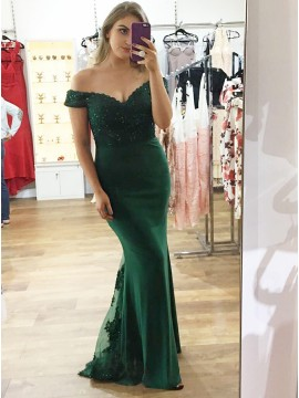 Mermaid Off-the-Shoulder Dark Green Prom Dress with Appliques