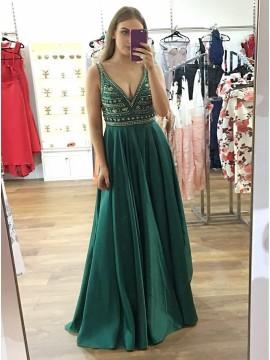 A-Line Deep V-Neck Floor-Length Dark Green Prom Dress with Beading