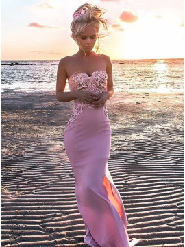 Mermaid Sweetheart Floor-Length Pink Prom Dress with Appliques Split
