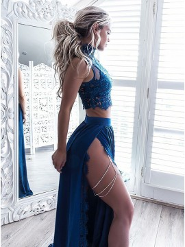 Two Piece High Neck Floor-Length Blue Prom Dress with Lace