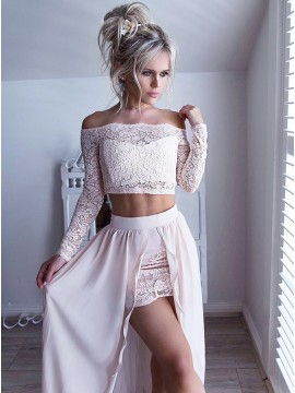 fd950ab3f13 Two Piece Off-the-Shoulder Long Sleeves Pearl Pink Prom Dress with Lace