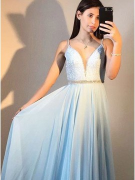 A-Line Spaghetti Straps Long Chiffon Light Blue Prom Dress with Sequin