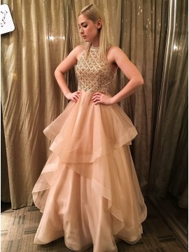 A-Line Round Neck Long Champagne Prom Dress with Beading
