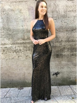 Sheath Spaghetti Straps Backless Black Sequined Prom Dress