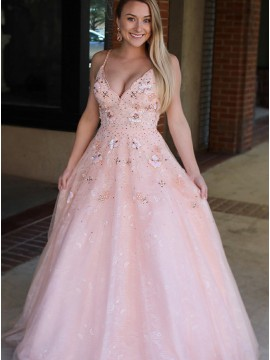 A-Line Spaghetti Straps Backless Pink Prom Dress with Appliques Sequins