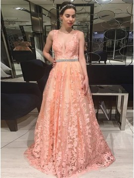 A-Line V-Neck Backless Long Peach Lace Prom Dress with Beading