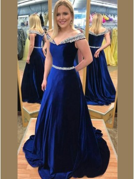 A-Line Off-the-Shoulder Sweep Train Royal Blue Velvet Prom Dress