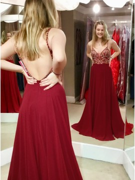A-Line Spaghetti Straps Backless Long Burgundy Prom Dress with Beading