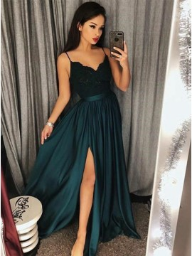 A-Line Spaghetti Straps Dark Green Prom Dress with Appliques Long Party Dress