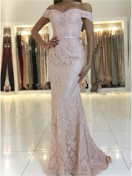 Mermaid Off-the-Shoulder Pink Long Prom Dress with Appliques Sequins