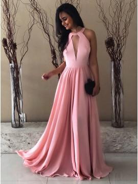 A-Line Round Neck Backless Pink Chiffon Prom Dress with Keyhole