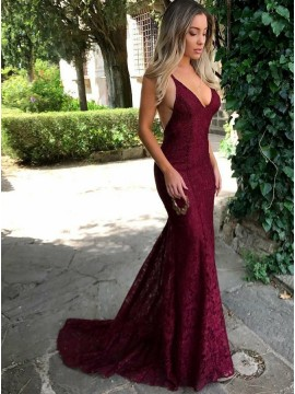 Mermaid Spaghetti Straps Backless Burgundy Long  Lace Prom Dress