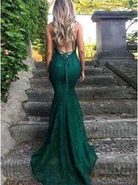 Mermaid Spaghetti Straps Backless Dark Green Long  Lace Prom Dress
