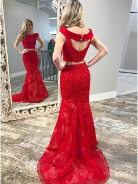 Two Piece Bateau Sweep Train Red Prom Dress with Appliques