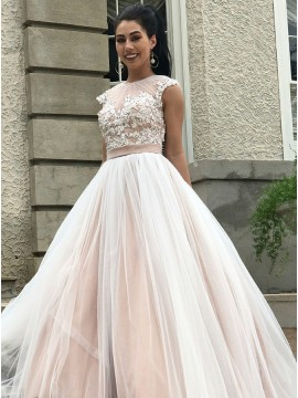 A-Line Round Neck Open Back Prom Dress with Appliques Sequins