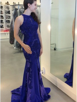 Mermaid Round Neck Open Back Blue Prom Dress with Sequins