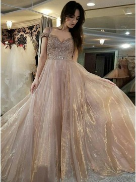 A-Line Spaghetti Straps Cold Shoulder Champagne Prom Dress