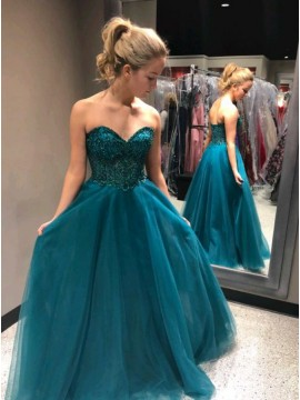 A-Line Sweetheart Long Turquoise Prom Dress with Beading