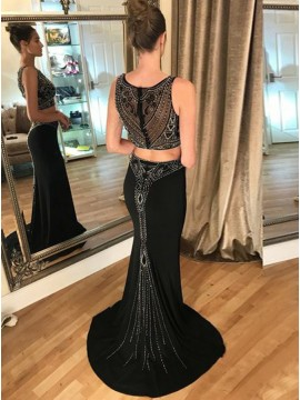 Two Piece Round Neck Black Long Prom Dress with Beading