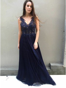 A-Line V-Neck Backless Navy Blue Prom Dress with Appliques