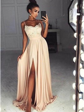 A-Line Spaghetti Straps Long Blush Prom Dress with Appliques