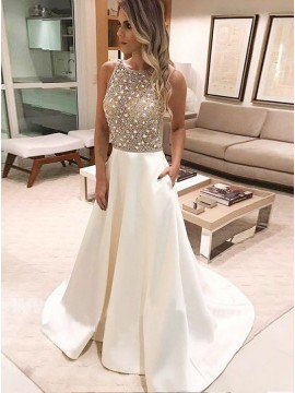 A-Line Round Neck Sweep Train Ivory Prom Dress with Beading Pockets