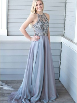 A-Line Round Neck Sweep Train Grey Chiffon Prom Dress with Beading