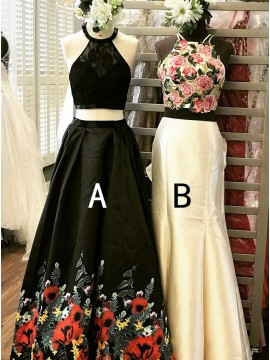 Two Piece Halter Long Black Floral Prom Dress with Pockets