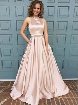 A-Line Halter Backless Pink Satin Prom Dress with Pockets