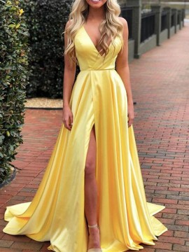 A-Line Halter Backless Sweep Train Yellow Satin Prom Dress with Split