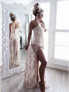A-Line Spaghetti Straps Champagne Prom Dress with Sequins