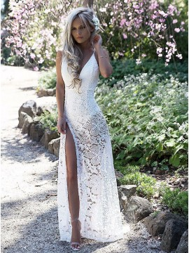 Sheath Spaghetti Straps Floor-Length White Lace Prom Dress