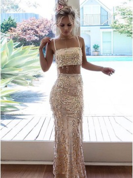 Two Piece Spaghetti Straps Long Champagne Sequined Prom Dress