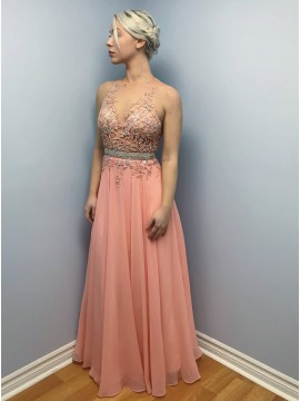 A-Line Round Neck Open Back Peach Prom Dress with Appliques