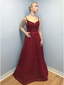 A-Line Spaghetti Straps Sweep Train Burgundy Lace Prom Dress