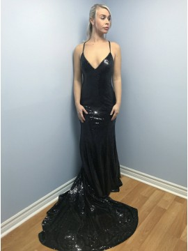 Mermaid Spaghetti Straps Sweep Train Black Sequined Prom Dress