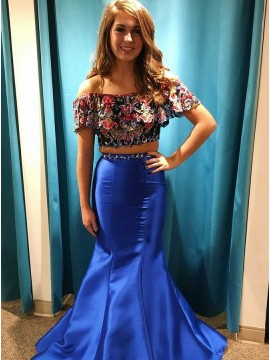 Two Piece Off-the-Shoulder Floor-Length Prom Dress with Appliques