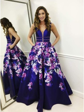 Popular A-Line V-Neck Long Floral Prom Dress with Pockets Royal Blue Evening Dress