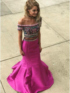 Two Piece Off-the-Shoulder Long Fuchsia Prom Dress with Embroidery