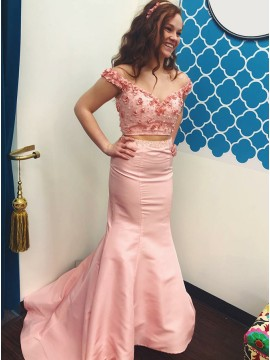 Two Piece Off-the-Shoulder Sweep Train Pink Prom Dress with Appliques