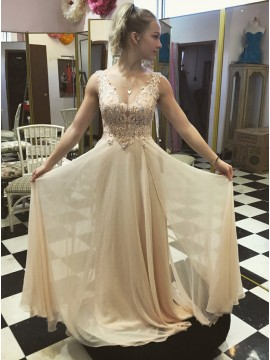 A-Line V-Neck Floor-Length Light Champagne Prom Dress with Appliques