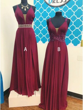A-Line Spaghetti Straps Long Burgundy Prom Dress with Lace