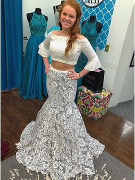 Two Piece Off-the-Shoulder Flare Sleeves Lace Prom Dress