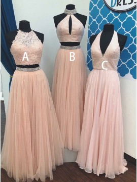 Two Piece Halter Backless Pink Tulle Prom Dress with Lace