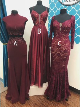 Two Piece High Neck Cap Sleeves Burgundy Prom Dress with Appliques