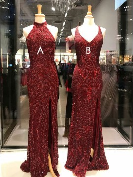Mermaid High Neck Dark Red Long Prom Dress with Beading