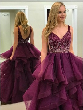 Ball Gown V-Neck Backless Purple Prom Dress with Beading