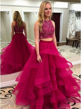 Two Piece Round Neck Fuchsia Prom Dress with Beading