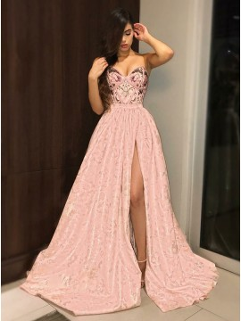 A-Line Sweetheart Sweep Train Pink Printed Prom Dress with Split