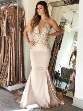 Mermaid Spaghetti Straps Sweep Train Prom Dress with Lace